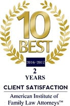 10 BEST 2016 | CLIENT SATISFACTION |American Institute of Family Law Attorneys
